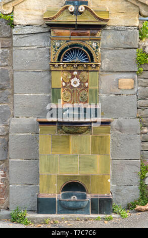 Doulton drinking fountain erected in 1895, Clevedon Somerset England UK. April 2019 - Stock Image