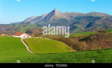 Panorama of Goierri in Gipuzkoa with Txindoki mountain - Stock Image
