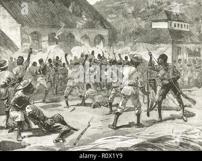 The Morant Bay rebellion, St. Thomas-in-the-East, Jamaica, 11 October 1865.  The attack on the courthouse - Stock Image