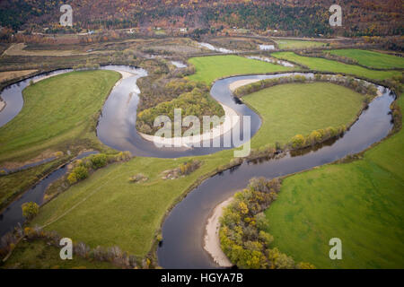 An aerial view of the Maidstone Bend section of the Connecticut River in Maidstone, Vermont. - Stock Image