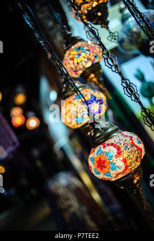 Colourful arabian hanging lanterns in Old Town of Sarajevo, Bosnia and Herzegovina - Stock Image