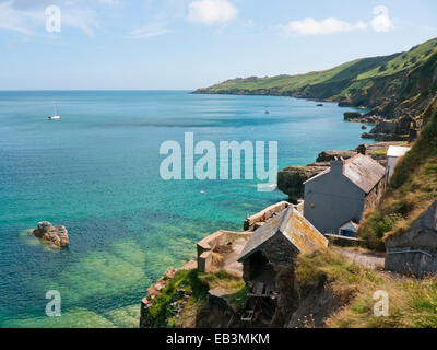 The abandoned village of Hallsands looking towards Start Point in Devon in England UK - Stock Image