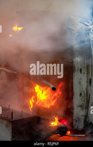 Paris, France. 1st December, 2018. Car one fire during the Yellow Vests protest against Macron politic. Credit: Guillaume Louyot/Alamy Live News - Stock Image