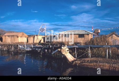 Uros Floating Islands, Lake Titicaca, Peru, South America - Stock Image