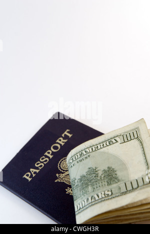 USA Currency & Passport - Stock Image