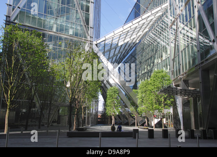Base of Broadgate Tower in the City of London view from Primrose Street - Stock Image