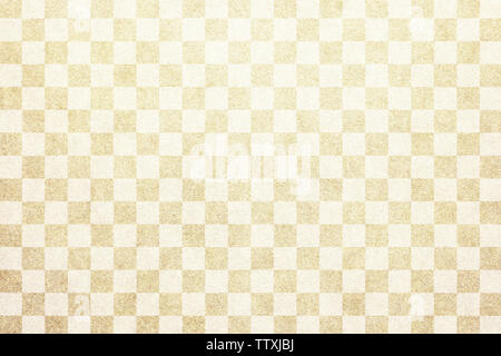 Japanese traditional beige color checkered pattern paper texture background - Stock Image