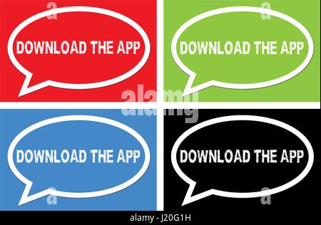 DOWNLOAD THE APP text, on ellipse speech bubble sign, in color set. - Stock Image