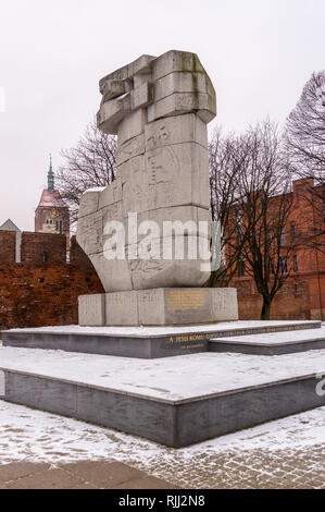 Monument to the defence of Poland by Wawrzyniec Samp and  Wiesław Pietroń, 1969, Podwale Staromiejskie, Gdańsk, Poland - Stock Image