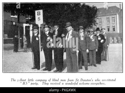 Battlefields Pilgrims in France -- a company of blind men from St Dunstan's (B5 Party).  The pilgrimage of 11,000 people to France and Flanders was organised by the British Legion and attended by the Prince of Wales.       Date: 1928 - Stock Image