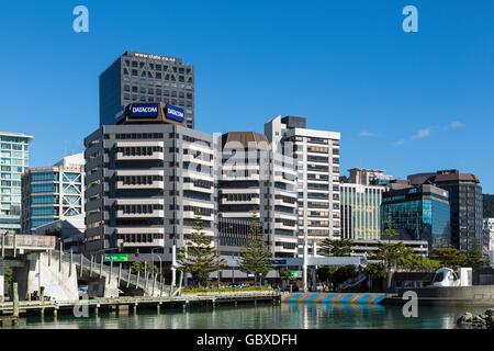 Wellington skyline the waterfront, New Zealand - Stock Image