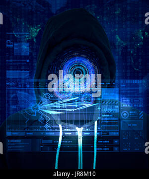 Reality augmentation of a unknown computer criminal using a bright blue HUD display for internet hacking and illegal activity - Stock Image