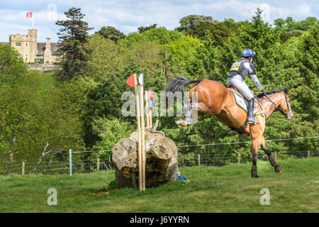 Pippa Funnell on her horse MGH Grafton Street clears a tree trunk obstacle with Rockingham castle in the background - Stock Image