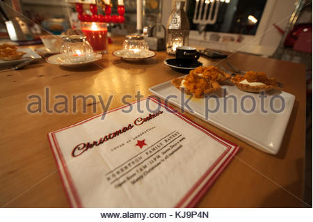 Christmas cookies with cloudberries from the North of Sweden, hygge time at the Advent table.  Partial clarity. - Stock Image