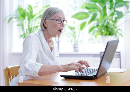 Senior woman at home in her living room staring in extreme shock at the screen  of her laptop, internet security - Stock Image