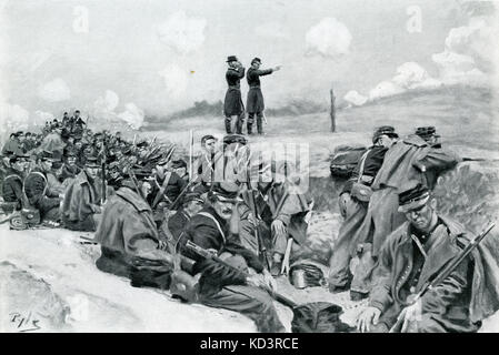 Federal army soldiers await the order to charge, American Civil War 1861 - 1865. Illustration by Howard Pyle, 1909 - Stock Image