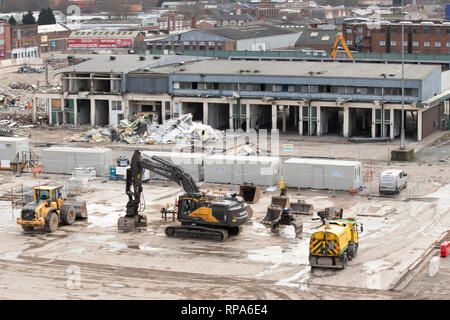 Demolition of Birmingham Wholesale Market in Pershore Street, Bull Ring Centre, Birmingham. - Stock Image