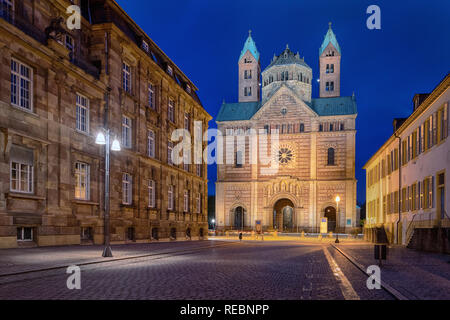 Facade of Speyer Cathedral (Dom zu Speyer) at dusk, Germany - Stock Image