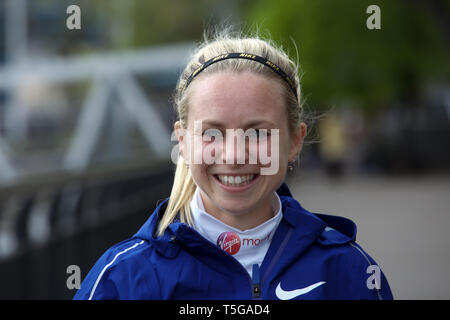 London,UK,24th April 2019,Charlotte Purdue attends The London Marathon British Athletes Photocall which took place outside the Tower Hotel with Tower Bridge in the background ahead of the Marathon on Sunday.Credit: Keith Larby/Alamy Live News - Stock Image