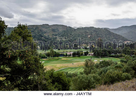Carmel Valley as seen from above, with Carmel Valley Ranch Golf Course in foreground - Stock Image