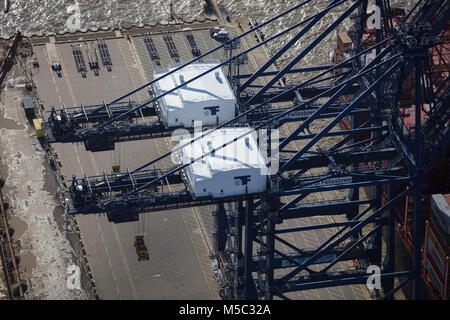 An aerial view of the dock cranes at the Port of Felixstowe, Suffolk, UK - Stock Image