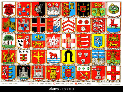Lithograph Coats of Arms of the Counties of England circa 1885 - Stock Image