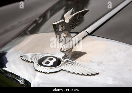 UK, England, Cheshire, Stockport, Woodsmoor Car Show, flying B badges on radiator of classic 1960 Bentley S2 saloon car - Stock Image