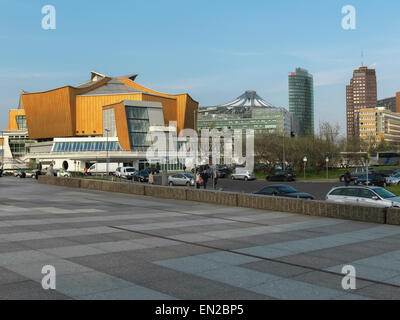 Berlin Philharmonie (Philharmony), Chamber Music Hall with Potsdamer Platz in the background. Digital Hasselblad - Stock Image