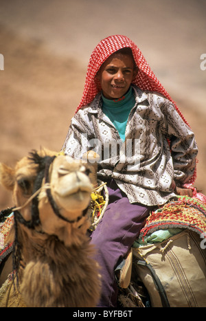 Young teen Bedouin boy on camel, Sinai Peninsula, Egypt, Africa - Stock Image