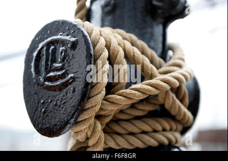 Rope stowage on RRS Discovery Royal Research Ship moored at Discovery Point Dundee - Stock Image