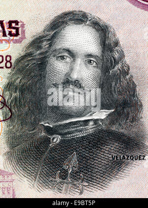Diego Velazquez (1599-1660) on 50 Pesetas 1928 Banknote from Spain. Spanish painter. - Stock Image