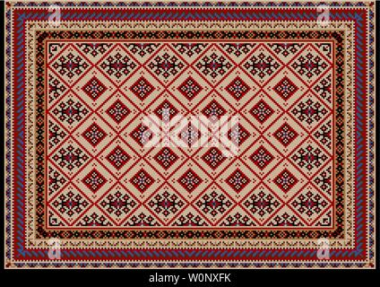 Luxury vintage oriental carpet in beige tones with burgundy, red, blue, brown and black patterns on a black background - Stock Image
