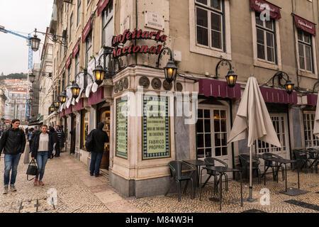 LISBON / PORTUGAL - FEBRUARY 17 2018: LISBON DOWNTOWN STREET - Stock Image