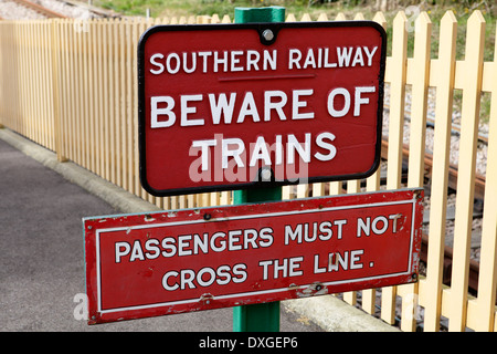 Warning signs, end of platform at East Grinstead station, Bluebell Railway - Stock Image