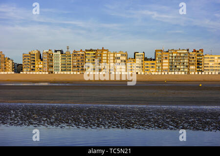 Holiday flats and apartments at Koksijde / Coxyde, seaside resort along the North Sea coast, West Flanders, Belgium - Stock Image