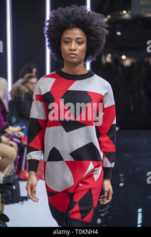 Models on the catwalk at MODA 2019 in Birmingham  Featuring: Marcelle Where: Birmingham, United Kingdom When: 17 Feb 2019 Credit: Anthony Stanley/WENN.com - Stock Image