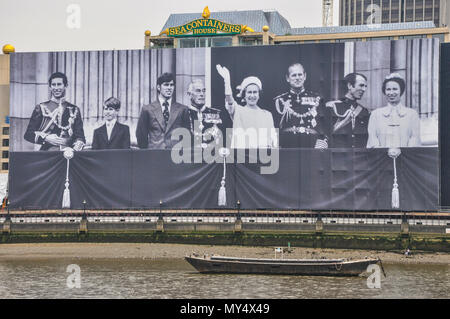 Sea containers House, River Thames, London with royal family picture in celebration of the Diamond Jubilee in 2012 London. Queen Elizabeth - Stock Image