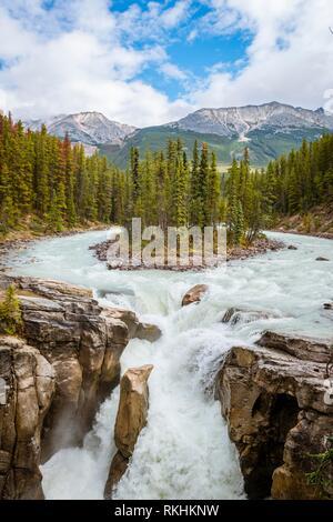 Waterfall Sunwapta Falls, at Icefields Parkway, Sunwapta River, Jasper National Park, Rocky Mountains, Alberta, Canada - Stock Image
