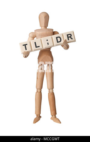 Wooden figurine with the letters TL;DR isolated on white background - Stock Image