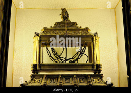 italy, rome, basilica of San Pietro in Vincoli (St. Peter in Chains), reliquary containing the chains of St. Peter - Stock Image