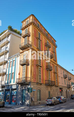 TURIN, ITALY - AUGUST 21, 2017: Scaccabarozzi slim house also known as polenta slice in a sunny summer day in Italy - Stock Image