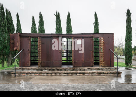 View of a cast-iron jail-house used to incarcerate slaves in the pre-Abolition era, Whitney Plantation Museum, Louisiana, USA - Stock Image