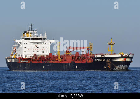 Chemical/Oil Products Tanker Admiral inbound Kiel Fjord - Stock Image