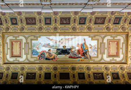 Porto, Portugal, August 15, 2017: Ceiling in one of the rooms of the Neoclassical Bolsa Palace (Stock Exchange Palace) - Stock Image
