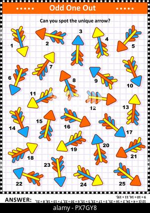 IQ training visual puzzle with colorful arrows (suitable both for kids and adults): Spot the odd one out. Find the unique arrow. Answer included. - Stock Image