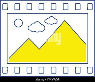 Film frame icon. Thin line design. Vector illustration. - Stock Image