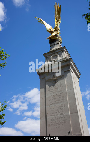 Royal Air Force Memorial and gold gilded eagle, Victoria Embankment London England. - Stock Image