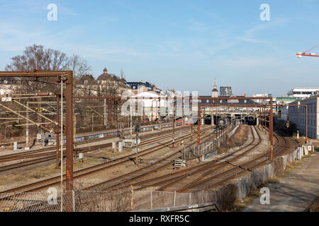 Railway tracks by Oesterport Station, Copenhagen, Denmark - Stock Image