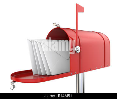 Classic Mailbox, open with 5 envelopes. Red and isolated on white background. 3D render. - Stock Image