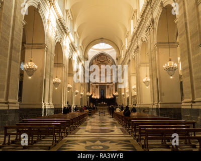 Interior of the Roman Catholic Cathedral of Sant'Agata, City of Catania, Island of Sicily, Italy. - Stock Image